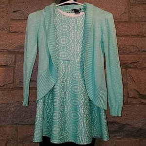 Easter/Spring Mint Lace Dress w Cardigan Size 7/Sm